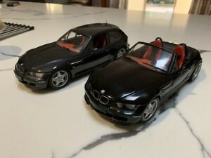 UT 1:18 BMW Z3M ROADSTER & COUPE MATCHING PAIR BLACK with RED INTERIORS