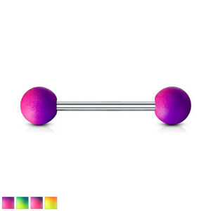Two Tone Rubber Coated 316L Surgical Steel Nipple Piercing / Barbell