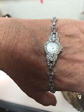 Antique Elgin 1.0ct Diamond & 14K White Gold Lady's Watch