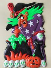 2 x Halloween 3D Kunststoff Wandbild Hexe Geister Raum Deko Wand Dekoration