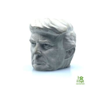 "Concrete Donald Trump Head Planter/Pot - ~4"" Tall 45th President Handmade"