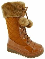 NEW KIDS MID CALF FASHION GIRLS WINTER WARM LOW HEEL WEDGE SNOW BOOTS SIZE 8-2