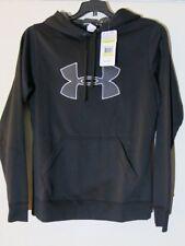 Under Armour Women's M Black Gray Logo Hooded Sweatshirt Jacket Cold Gear