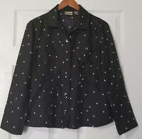 Chico's Womens Polka Dot Shirt Top Silk Black White Button Down Long Sleeve Sz 1
