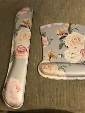 Keyboard Wrist Rest Pad And Wrist Support Mouse Pad Gray Floral