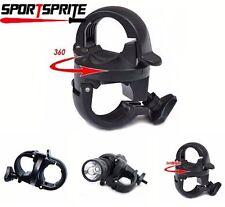 360 Rotating Bike LED Front FlashLight Torch Lamp Mount Clip Holder Bracket IT
