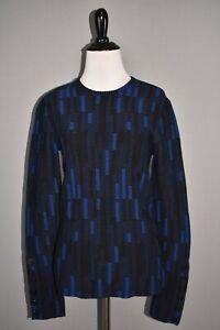 ST. JOHN NEW $895 Stretch Mosaic Jacquard Knit Sweater Prussian Blue P Petite
