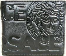 New Sleek Versace Black Leather Mens Wallet Trifold