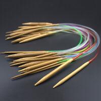 18pcs/set Tube Circular Carbonized Bamboo Knitting Needles 40cm-120cm