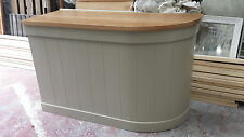 curved shop counter/home drinks bar oak top/made to measure/farrow and ball