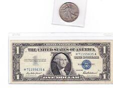 90% Silver $.50 1 Walking Liberty Half & 1957 $1 Silver Certificate lot of 1 ea