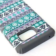 For Samsung Galaxy Note 5 - HARD&SOFT RUBBER HYBRID CASE FLORAL AZTEC GREEN/GRAY