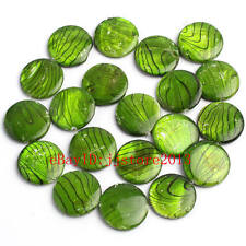 20mm Natural Banded Green Shell Coin Shape Gemstone Loose Beads Strand 15""