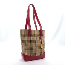 BURBERRY Tote Bag Ikat nylon canvas/leather Red Women