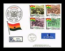 DR JIM STAMPS FEBRUARY REVOLUTION FDC REGISTERED GHANA EUROPEAN SIZE COVER