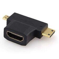 1080p HDMI Female to Mini Micro HDMI Male V1.4 90 Degree 3 in1 Converter Adapter