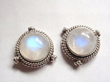 Moonstone 3-Point Rope Style Accents 925 Sterling Silver Stud Earrings