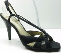 Jessica Simpson Black Leather Open Toe Slingback Sandals Pumps Heels 9.5B 9.5