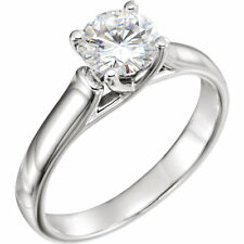 14K White 6.5mm Round Forever One™ Moissanite Solitaire Engagement Ring