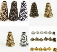 50 pcs Tibetan Antique Silver Cone Bead Caps End Beads Findings U Pick Style