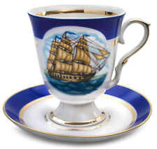 Large Mug with Saucer Nautical Decal Made in Dulevo, Russia 20 fl oz
