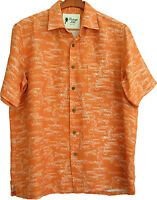 NWT Mens Vintage Silk Linen Hawaiian Shirt Koi Fish Aloha New Small & Medium