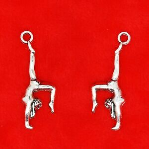 10 x Tibetan Silver 3D Gymnast Sport Gymnastics Charm Pendant