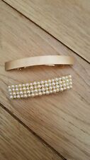 2 LARGE HAIR CLIP SLIDES:  1 PEARL 1 PLAIN MATT GOLD COLOUR METAL  NEW