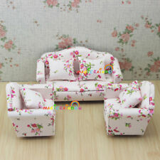 Dolls House Miniature 1:12 Living Room Furniture Sofa Set Couch Flower Pink