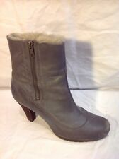 Clarks Grey Ankle Leather Boots Size 6