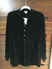 J Jill Velvet Blouse Women's Size S Black Button Up Shirt Mandarin Collar Top