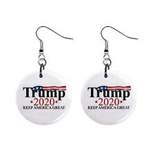 Trump 2020 President MAGA Political Dangle Button Earrings Jewelry 1 inch Round