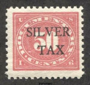 Silver Tax Revenue Stamp RG11 mint, VF