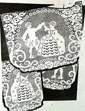 581 Vintage FILET FIGURAL Chair Set Pattern to Crochet (Reproduction)