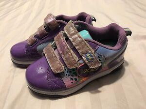 Heeleys Girls X2 Silver glitter pink Skate shoes hearts Sz 2 SC8