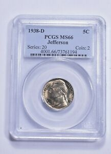 RARE - Graded MS66 1938-D Jefferson Nickel - Graded By PCGS *381