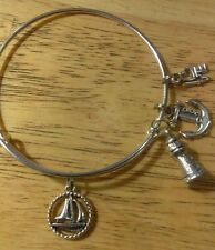 Nautical Themed Silver Toned Wire Expandable Bracelet