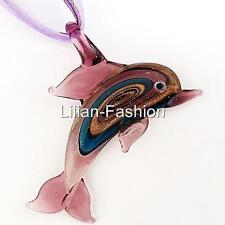 Purple Dolphin Animal Lampwork Glass Murano Bead Pendant Ribbon Cord Necklace