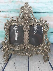 Antique Art Nouveau Cast Brass Ornate Picture Frame Easel Back Cherub Maiden