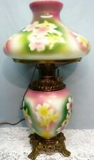 Antique Fostoria Oil GWTW Parlor Lamp Green Purple Flower Brass Base Electrified