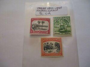 Three 1877-1949 Western Samoa - 1/2, 1, 2 Denomination
