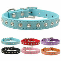 Bling Rhinestone Dog Cat Collars Soft Suede for Small Puppy Dogs Pink Blue XS-M