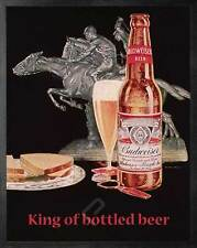 BUDWEISER King of Bottled Beer. Vintage AD Poster Reproduction. Black Frame