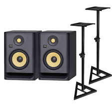 KRK Rokit 5 RP5G4 Active Studio Monitor - Pair with Silver monitor stands and...