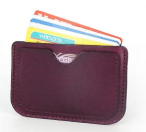 men women wallet purse cow Leather Card Cases ID driver license bag purple Z589