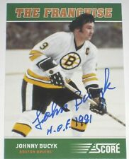 "JOHNNY BUCYK SIGNED 12-13 SCORE FRANCHISE ORIGINAL SIX BRUINS CARD AUTO ""HOF""!!"