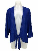 Chico's Travelers Hadley 3/4 Jacket Top Blue Textured Tie Front Women's Size XL