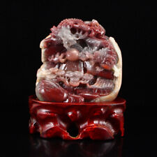 Chinese Hand-carved Agate Statue w Dragon & Fire ball
