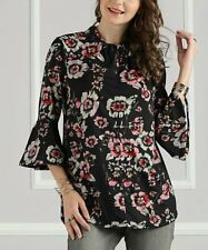 9e2632ee9e0 Suzanne Betro Black Floral Bell-Sleeve Tunic - Women SIZE LARGE NEW
