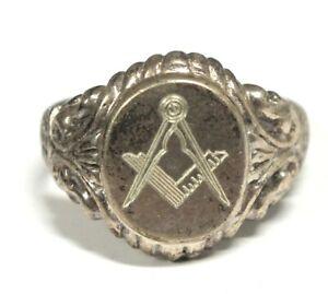 Vintage 925 STERLING SILVER Oval Masonic Symbol Signet Ring, Y, 6.92g - C60